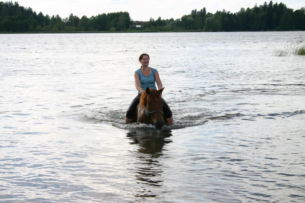 Söpö hevonen outo hyypiö selässään